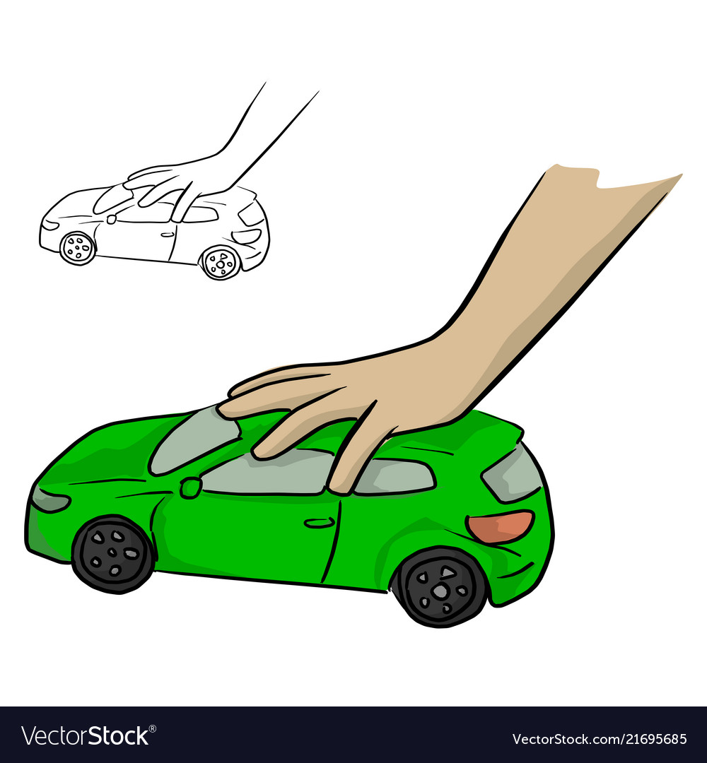 Hand of a child playing a green car toy