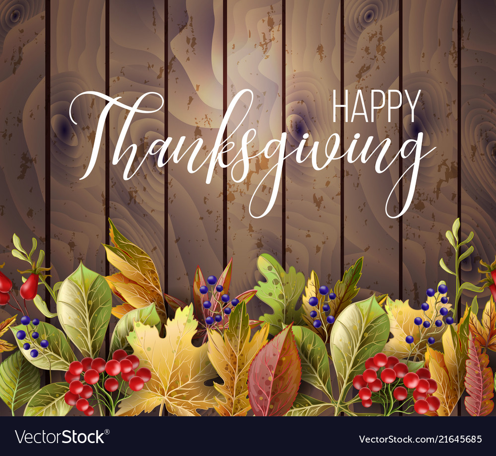 Happy thanksgiving poster with autumn leaves