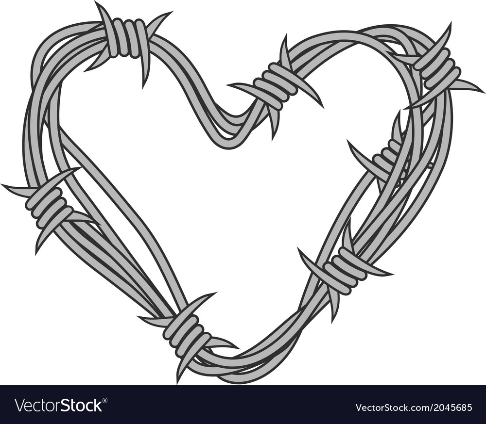 Heart in barbed wire Royalty Free Vector Image