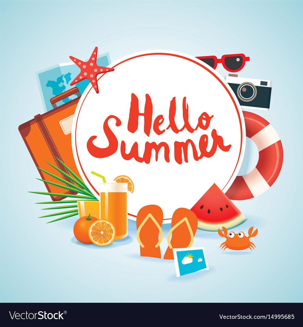 Hello summer time travel season banner design and