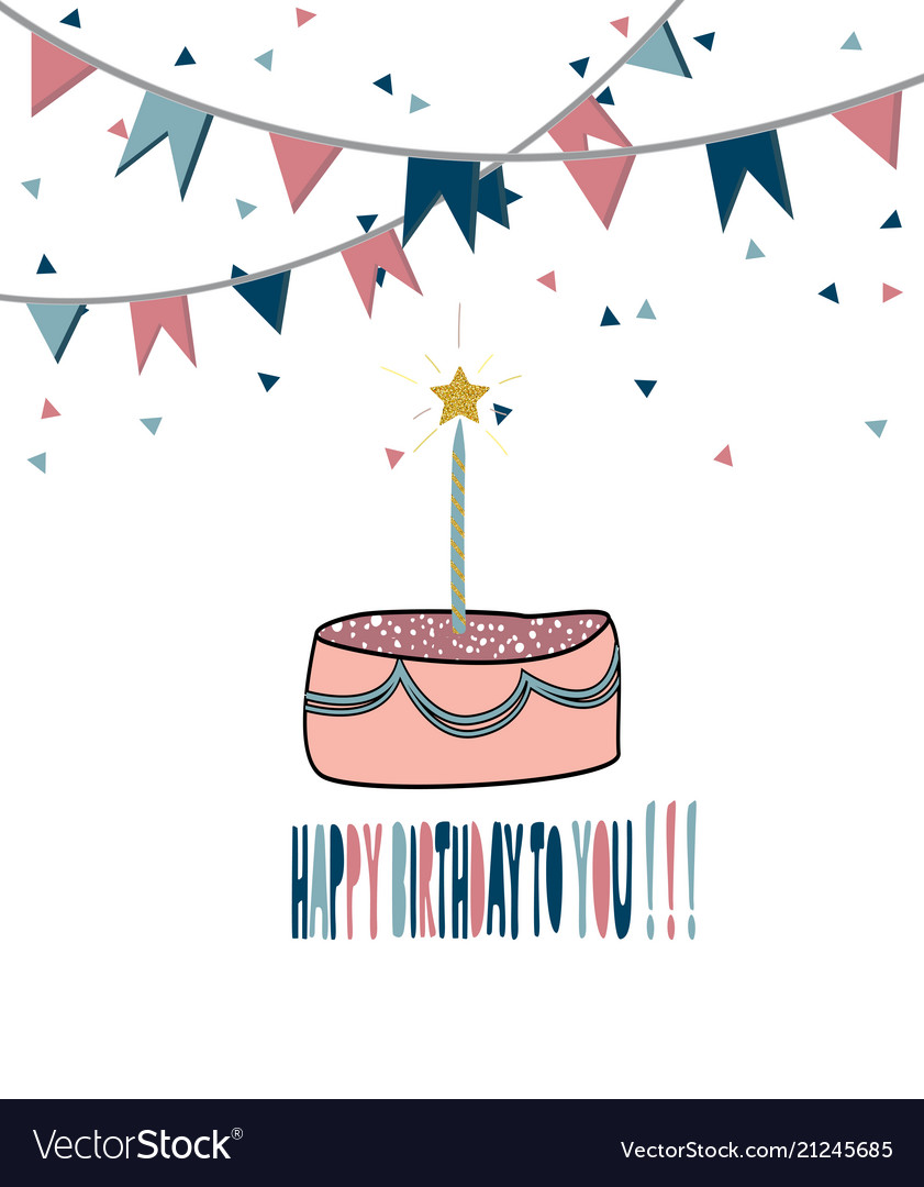 Modern happy birthday greeting card background Vector Image