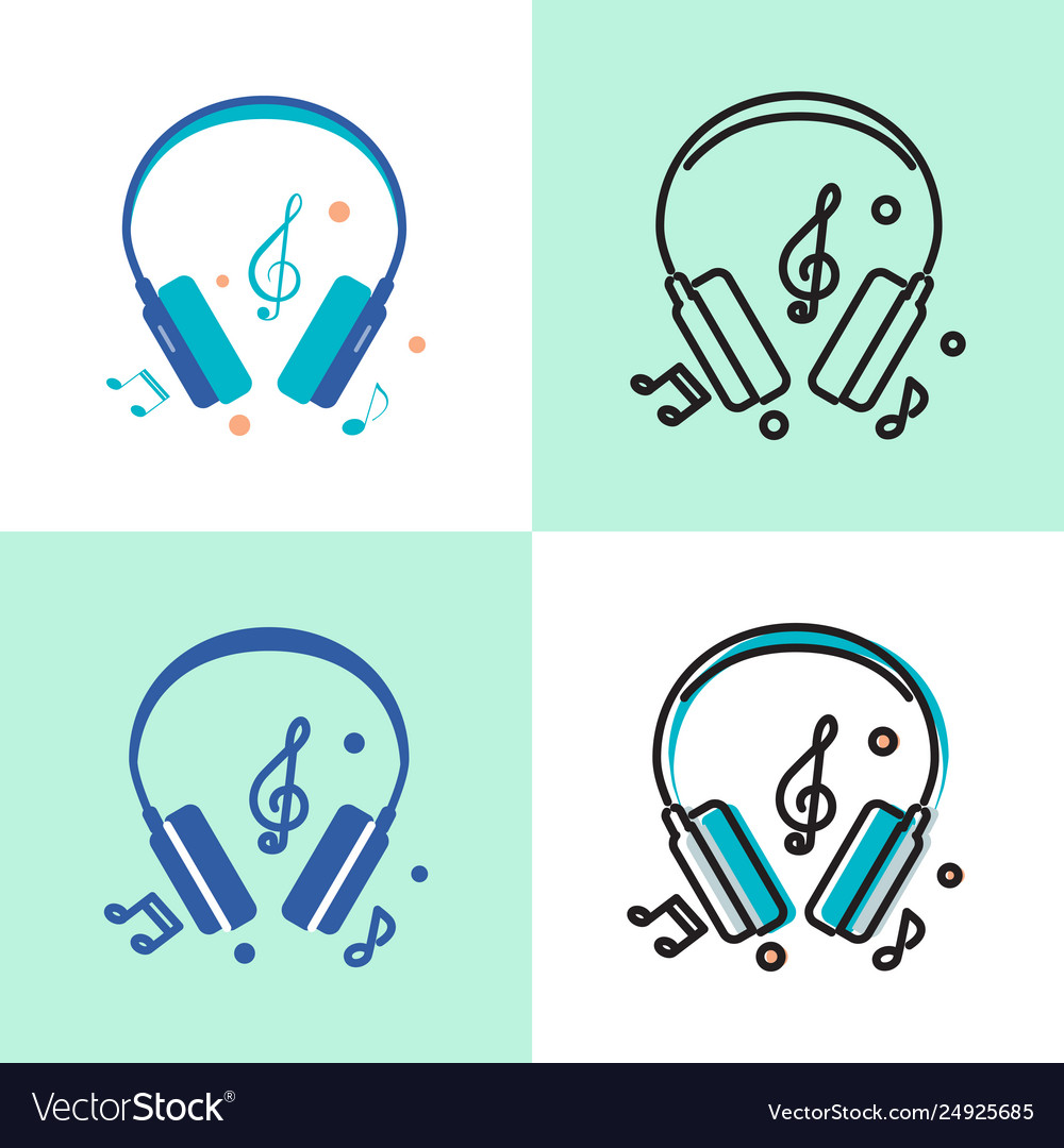 Music headphones icon set in flat and line styles