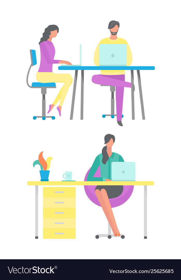 People working in office woman at home freelancer