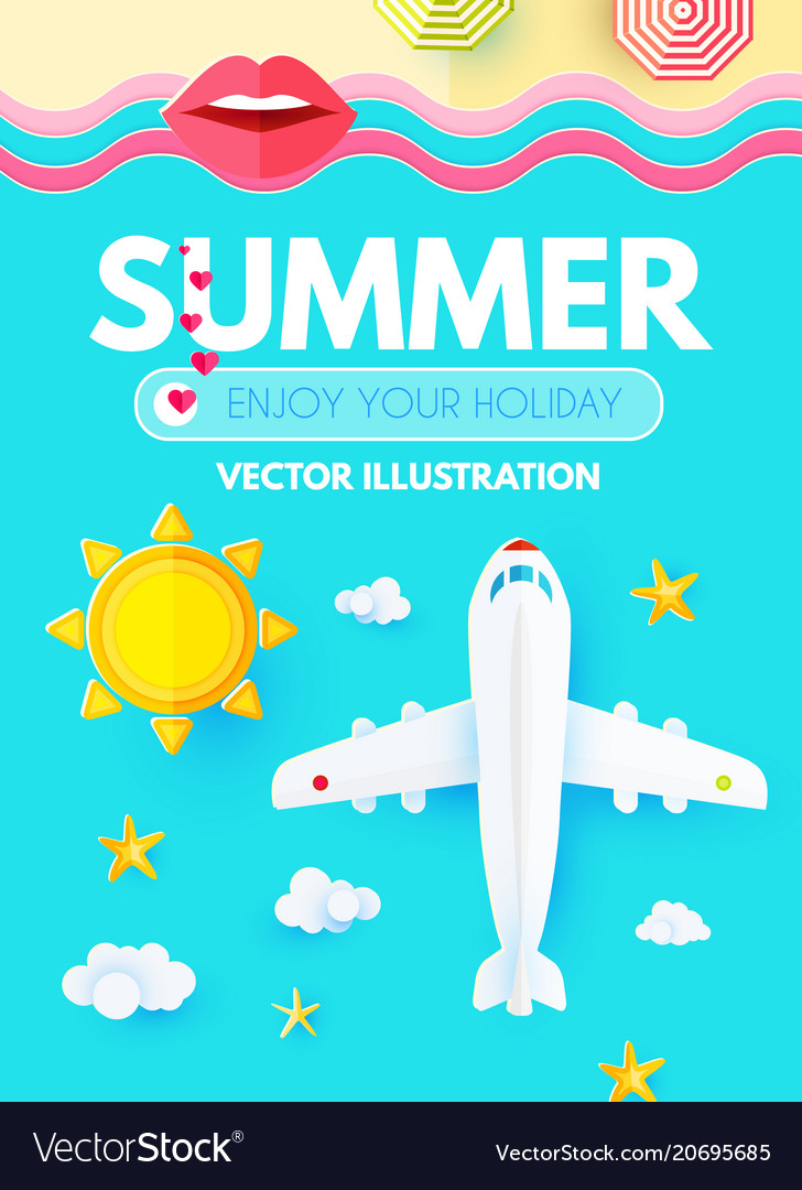Summer vacation layout design template with plane