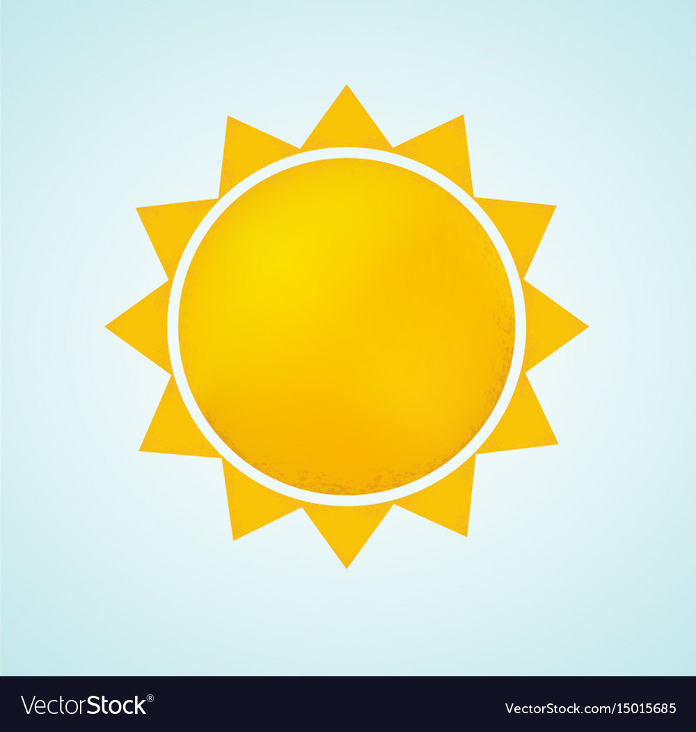 Sun icon with rays abstract summer symbol
