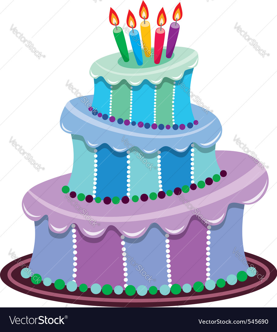 Fine Big Birthday Cake Royalty Free Vector Image Vectorstock Personalised Birthday Cards Veneteletsinfo
