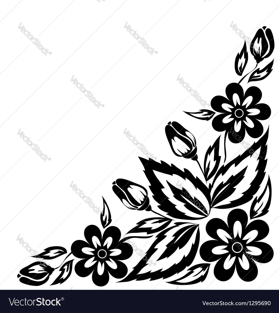 Black And White Floral Arrangement Royalty Free Vector Image