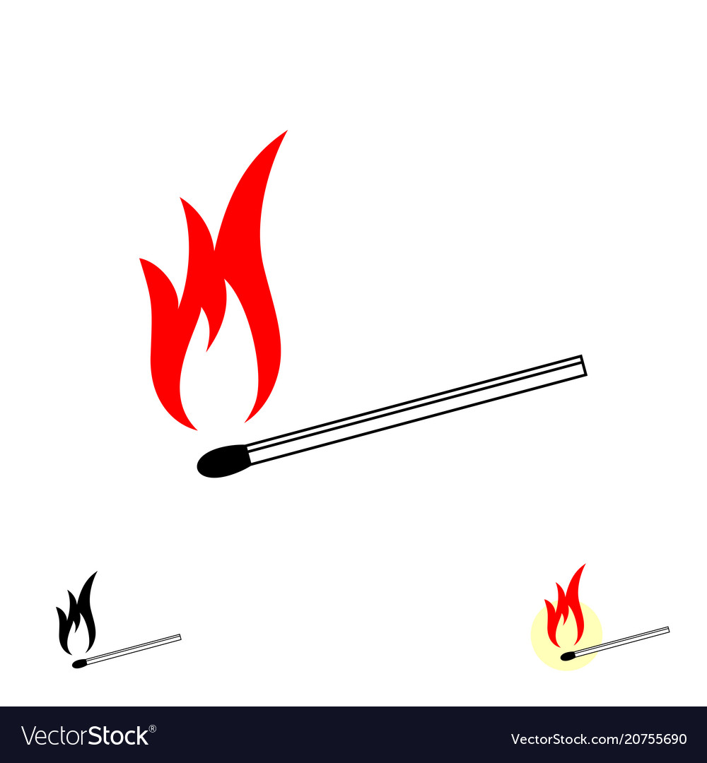 Burning match stick with fire flame