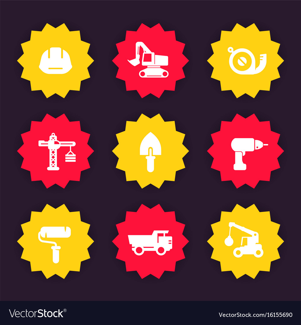 Construction icons badges vector image