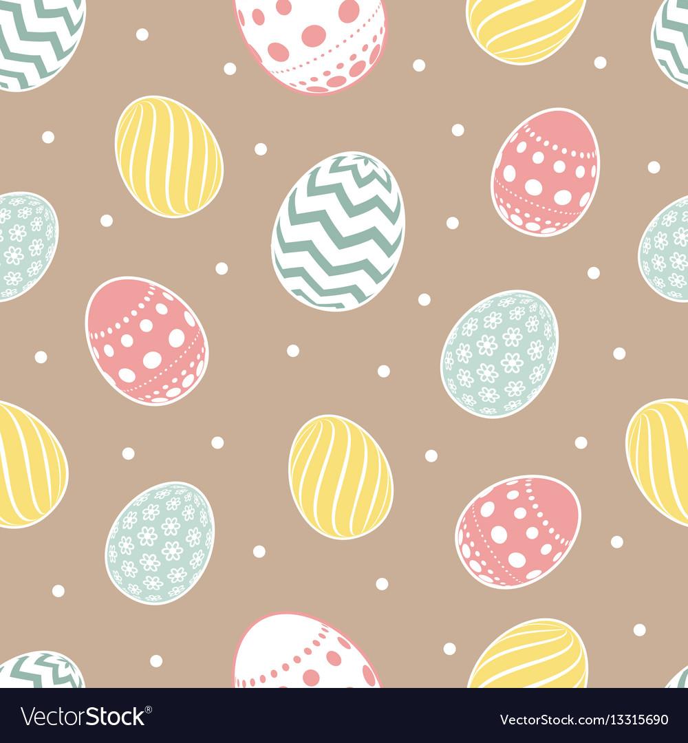 Easter seamless pattern flowers eggs