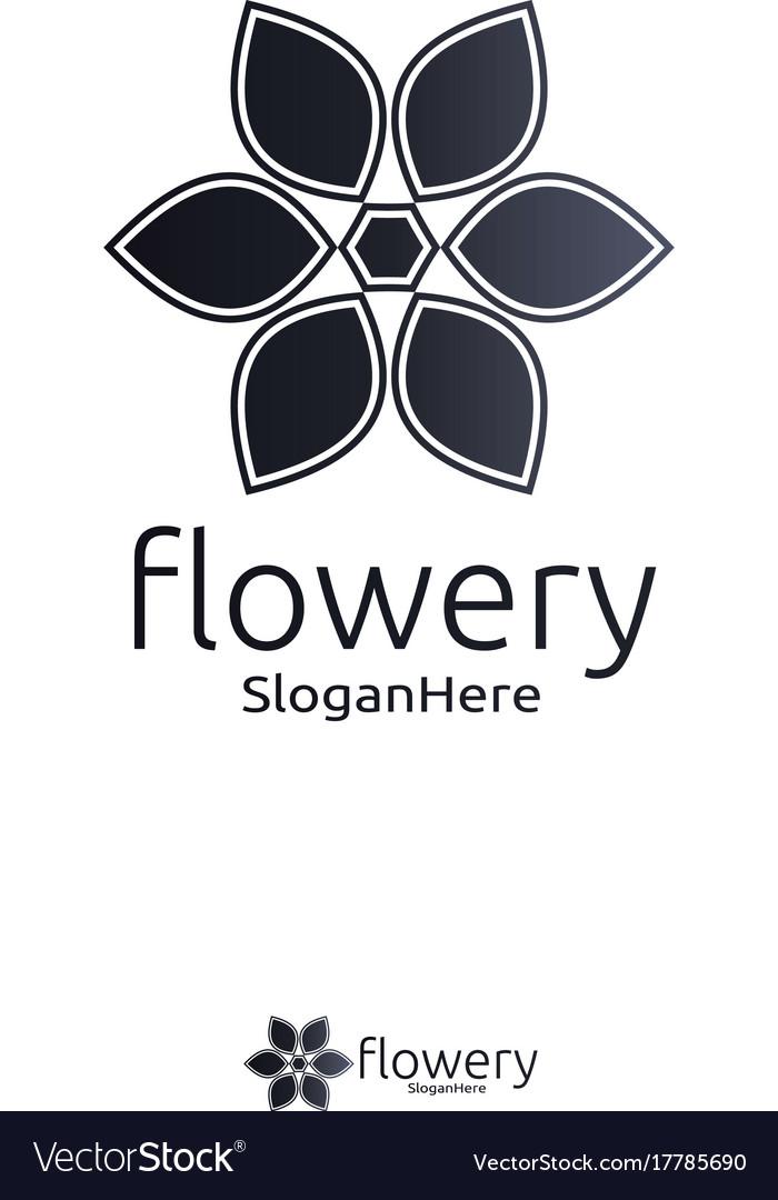 Elegant flower logo icon design with gradient