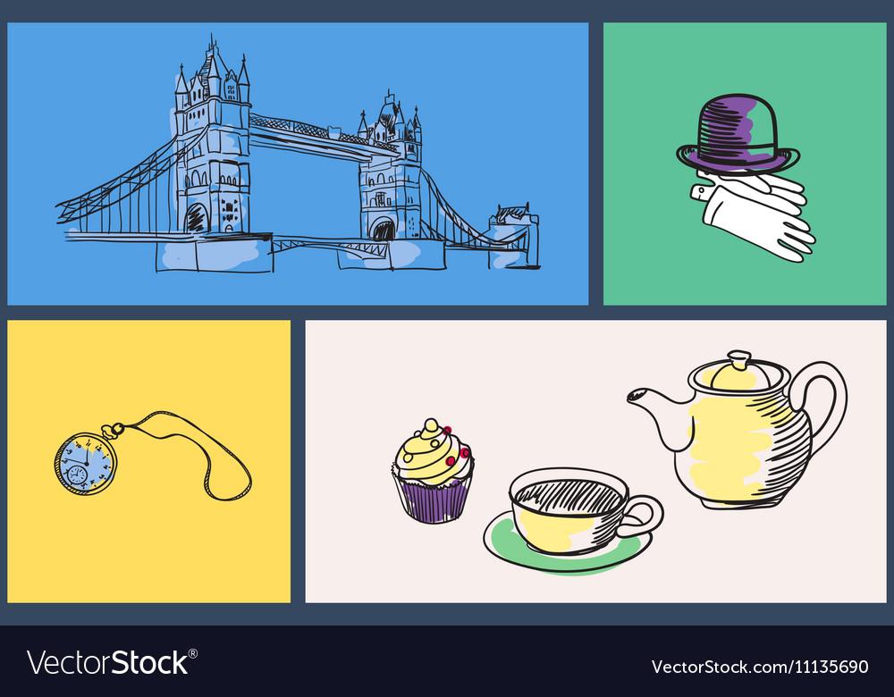English National Symbols Doodle Set