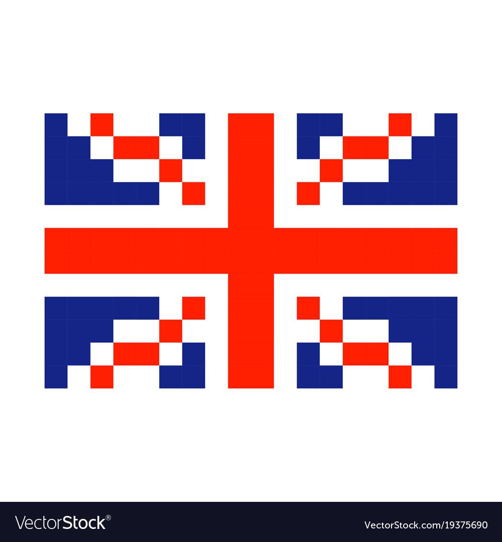 Great britain pixel flag art cartoon retro game