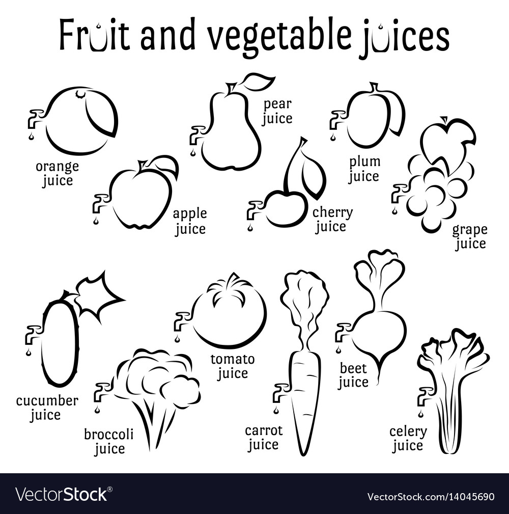 Icons of fruits and vegetables juices