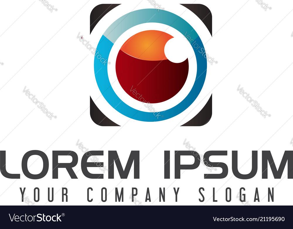 Lens camera logo design concept template