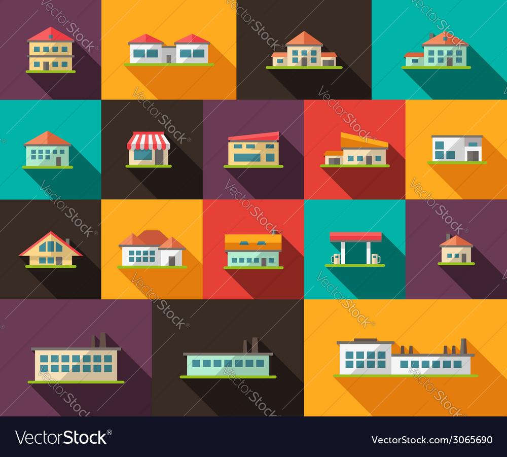 Set of flat design buildings pictograms
