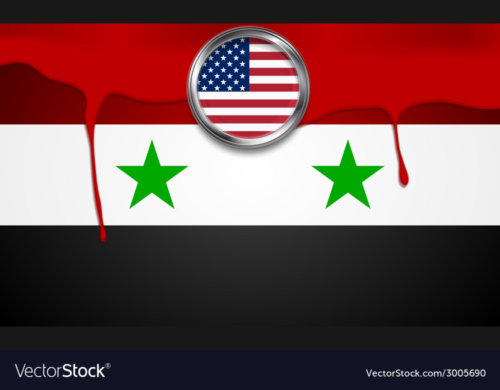 USA and Syria political concept background