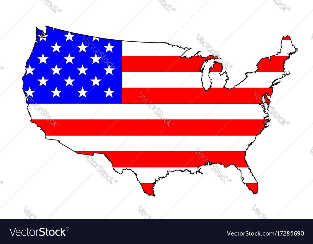 Usa flag map vector image