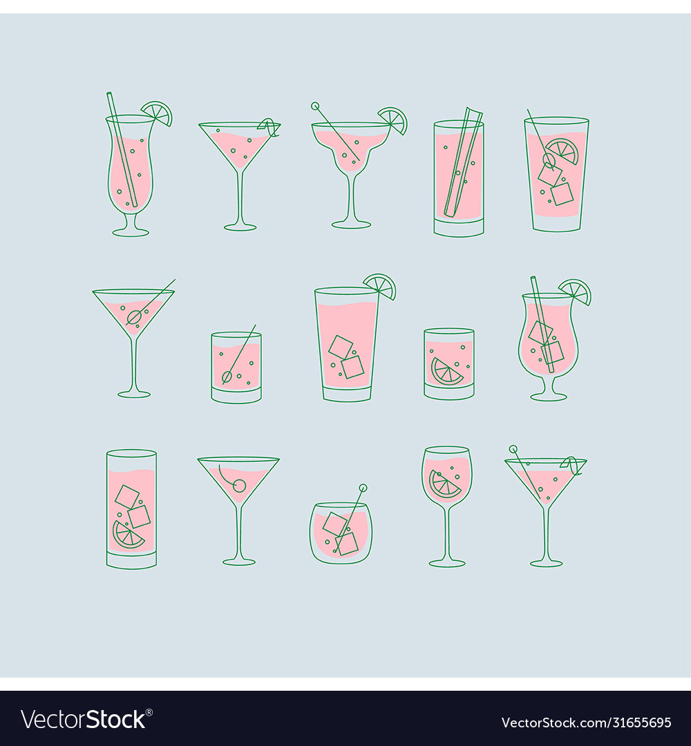 Alcohol drinks and cocktails icon flat set blue