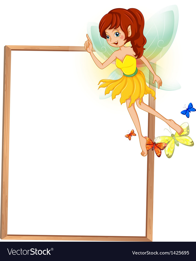An empty wooden signboard with a floating fairy