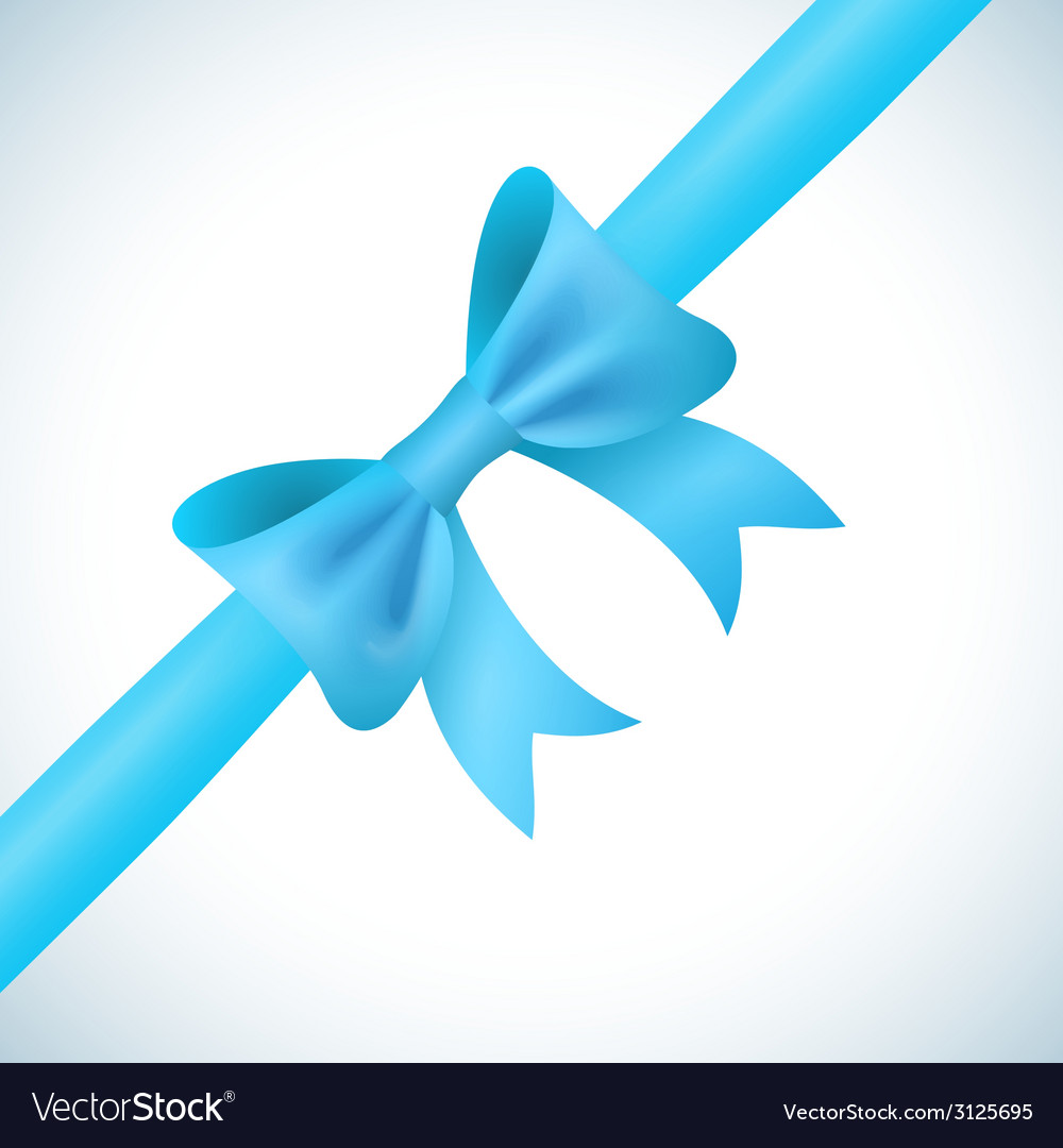 Big shiny blue bow and ribbon on white background
