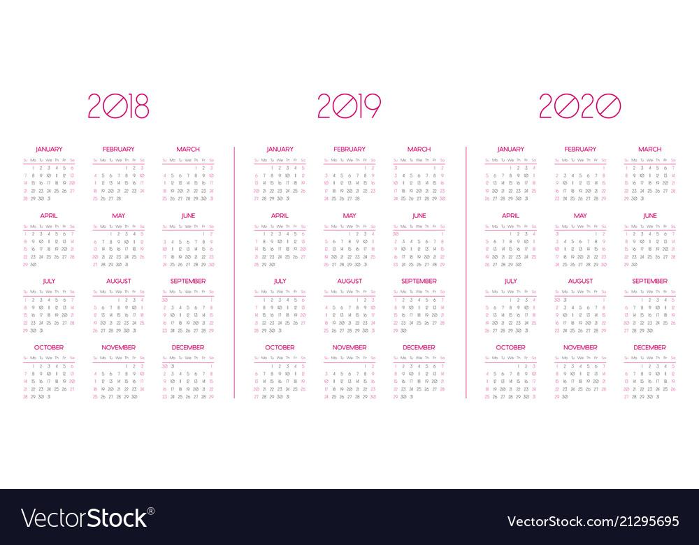 Calendar template for 2018 2019 2020 vector image