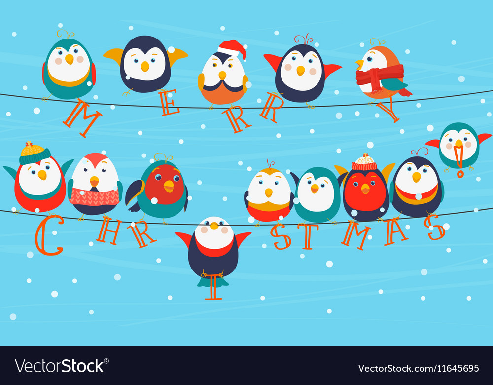 Christmas birds on wires Merry christmas words on