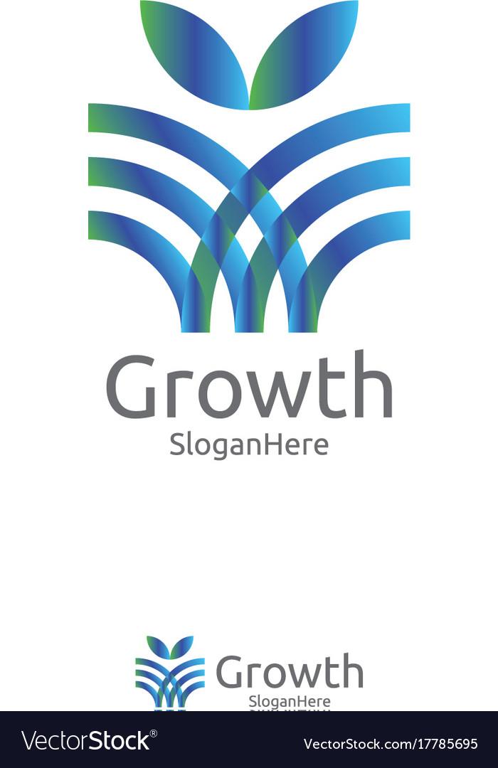 Elegant grow leaf or flower logo icon design with