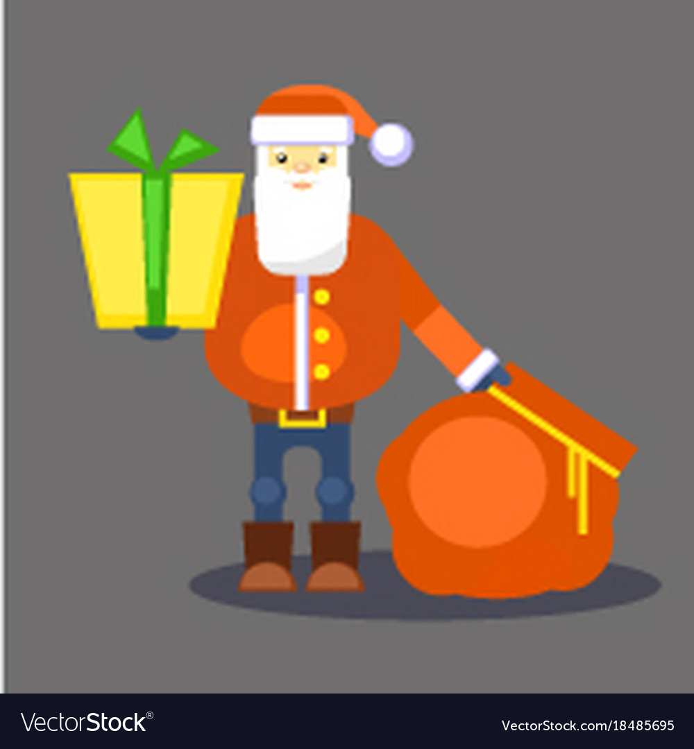Funny red santa claus with bag and gift present