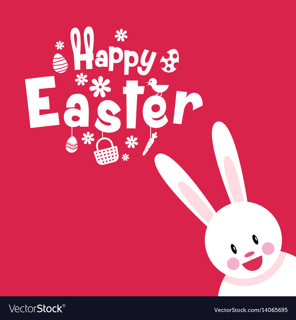 Happy easter typography cartoon charactor