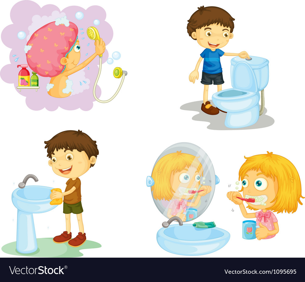 Kids and bathroom accessories vector image
