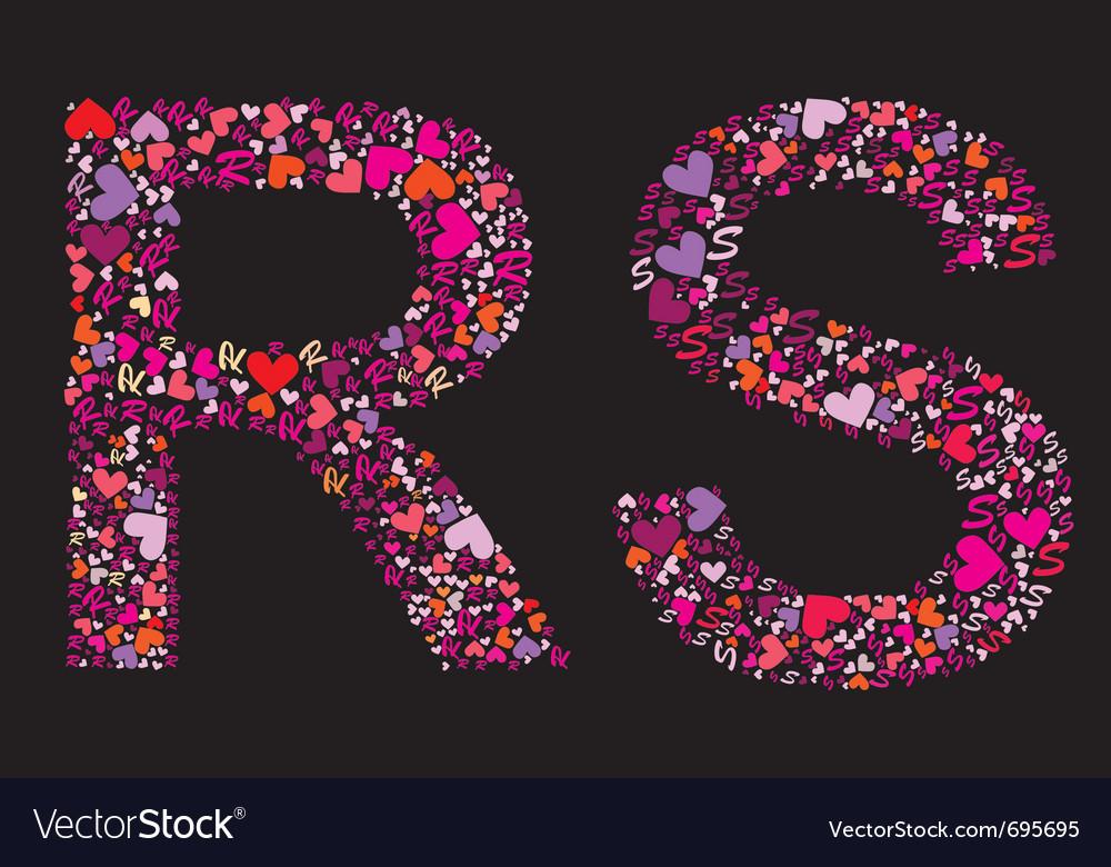 Letter r s valentine alphabet
