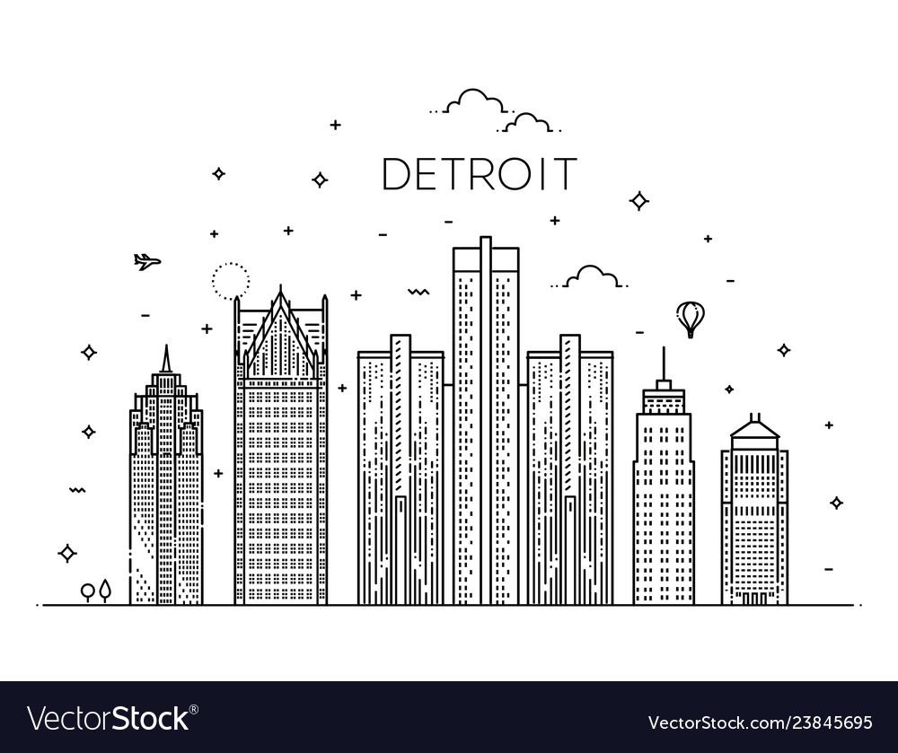 Michigan detroit city skyline architecture