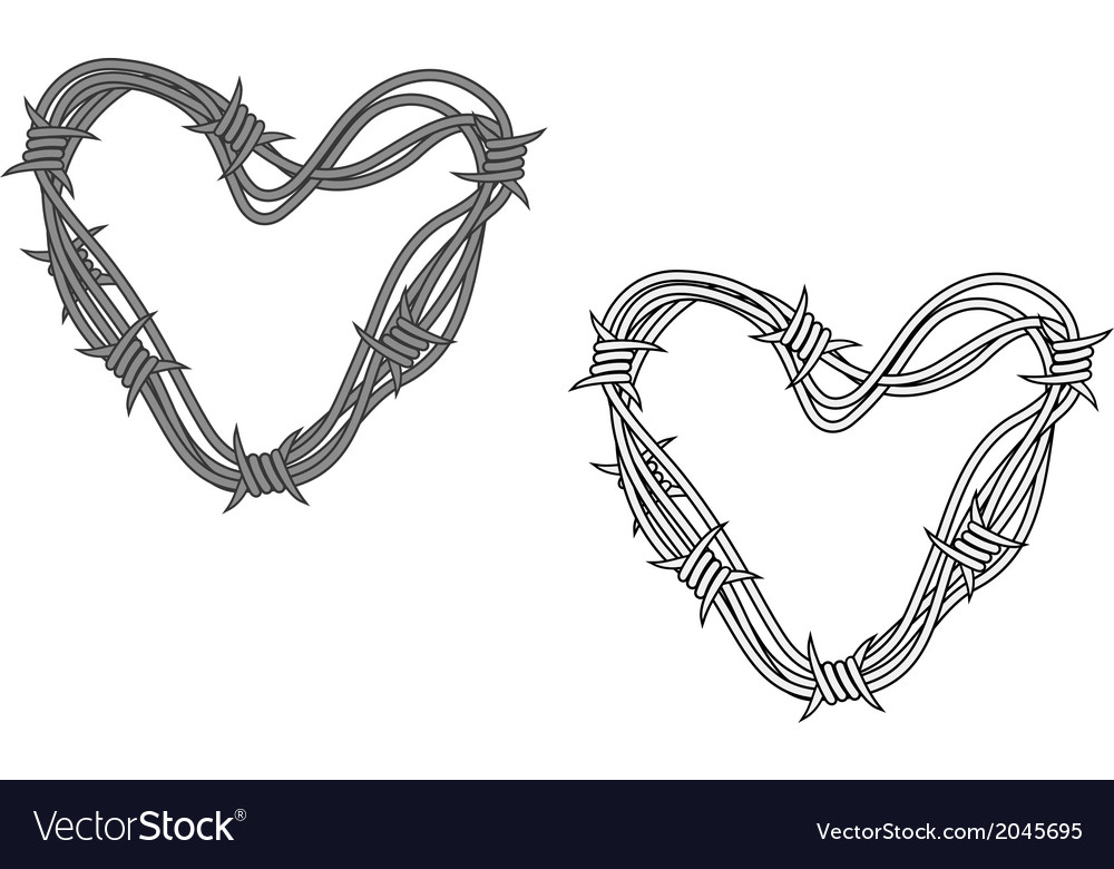 Steel heart in barbed wire Royalty Free Vector Image