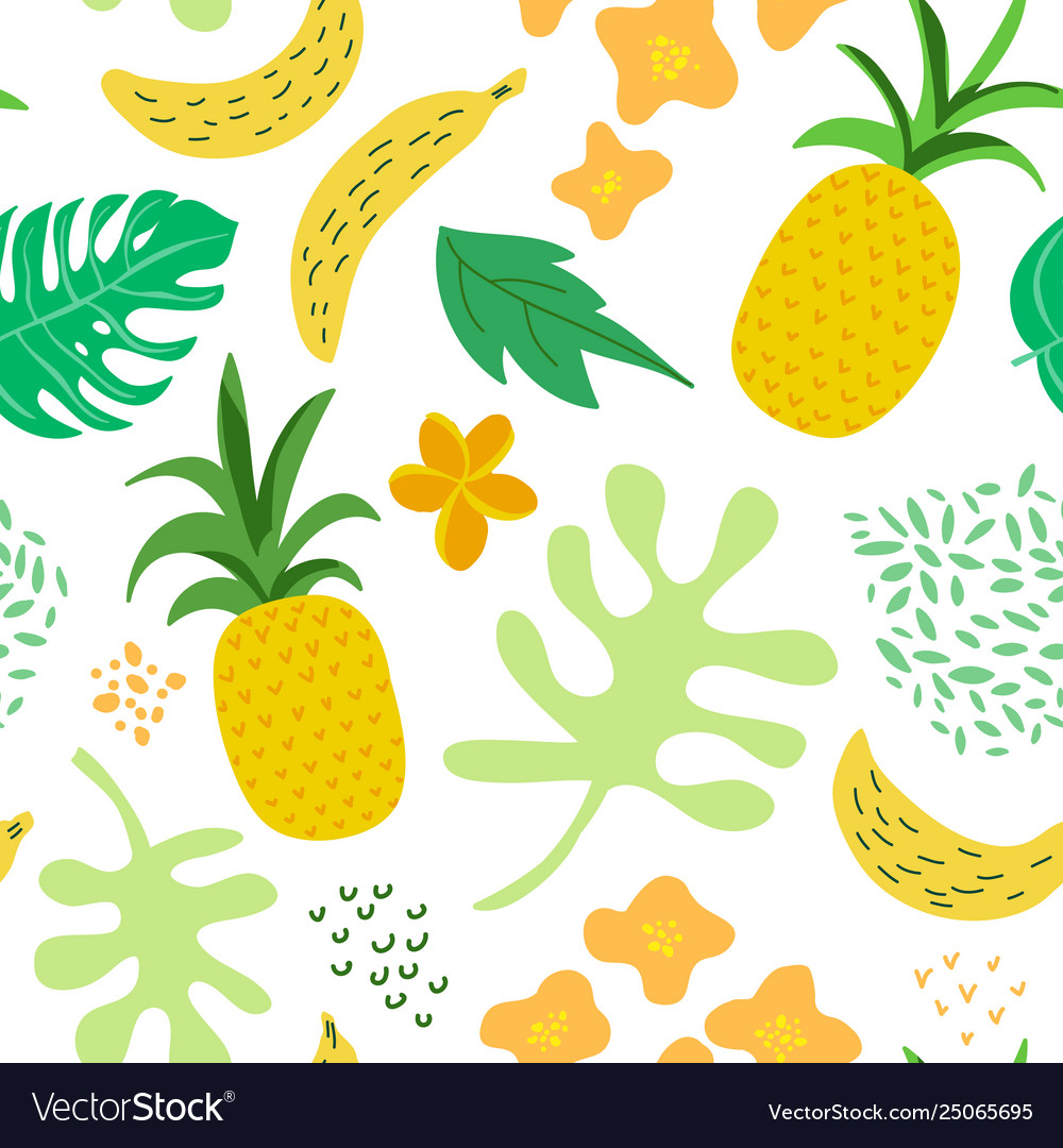 Tropical flowers and leaves pattern pineapples