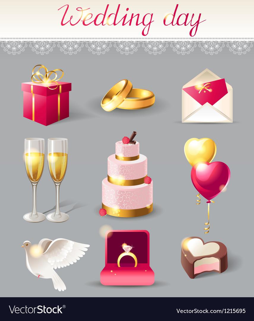 Wedding icons new vector image