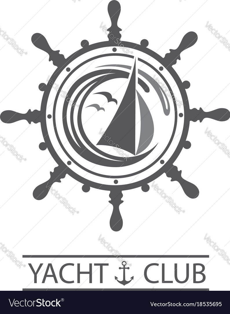 Yacht helm and waves icon