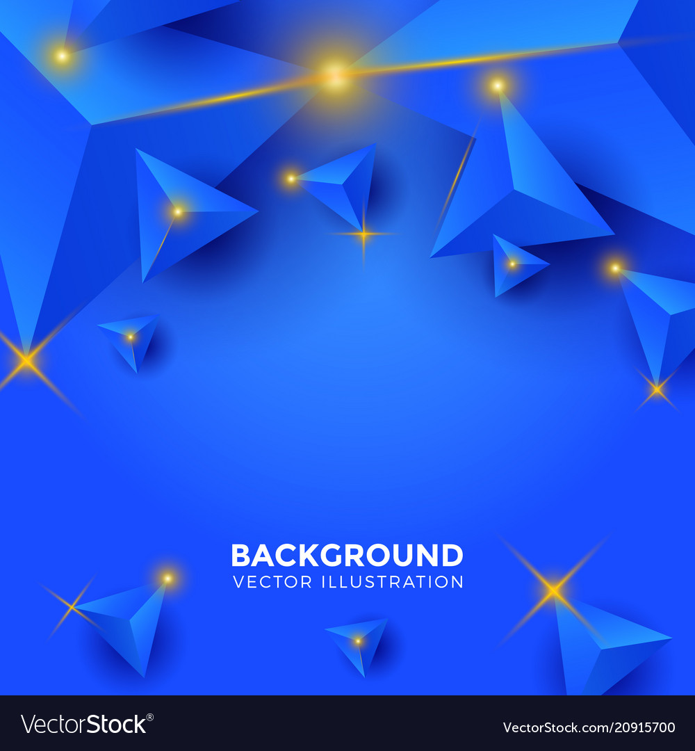 Abstract shiny blue triangle background 3d