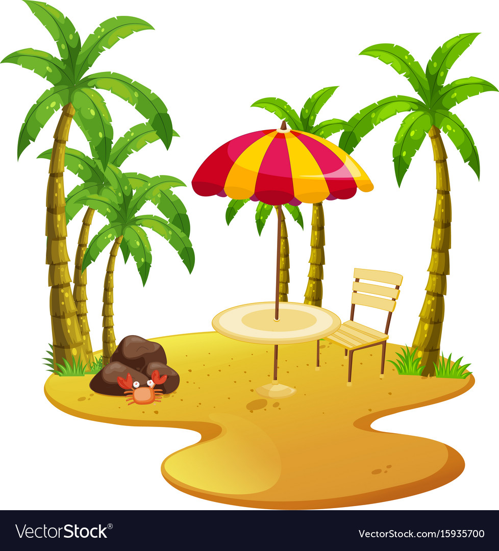 Beach scene with dining table and trees