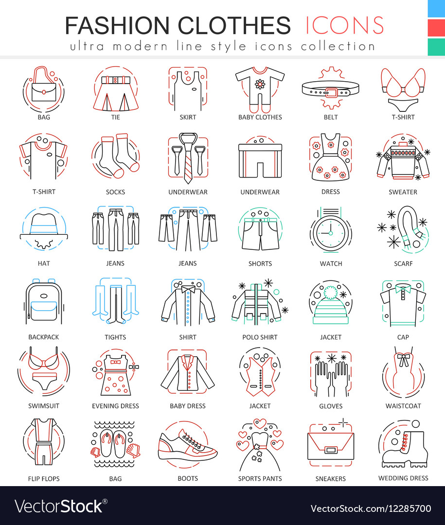 Clothes shoes color line outline icons for