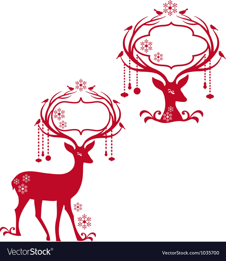 Deer with blank frames Royalty Free Vector Image