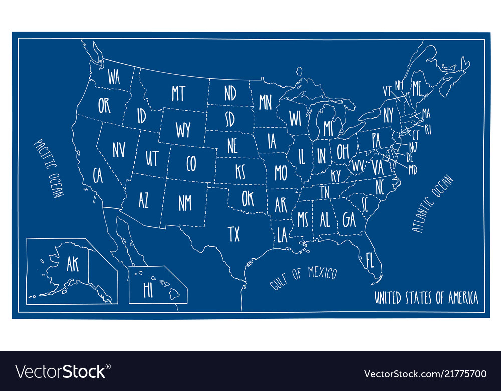 Map Of North America 50 States.Doodle Blueprint Map Of North America