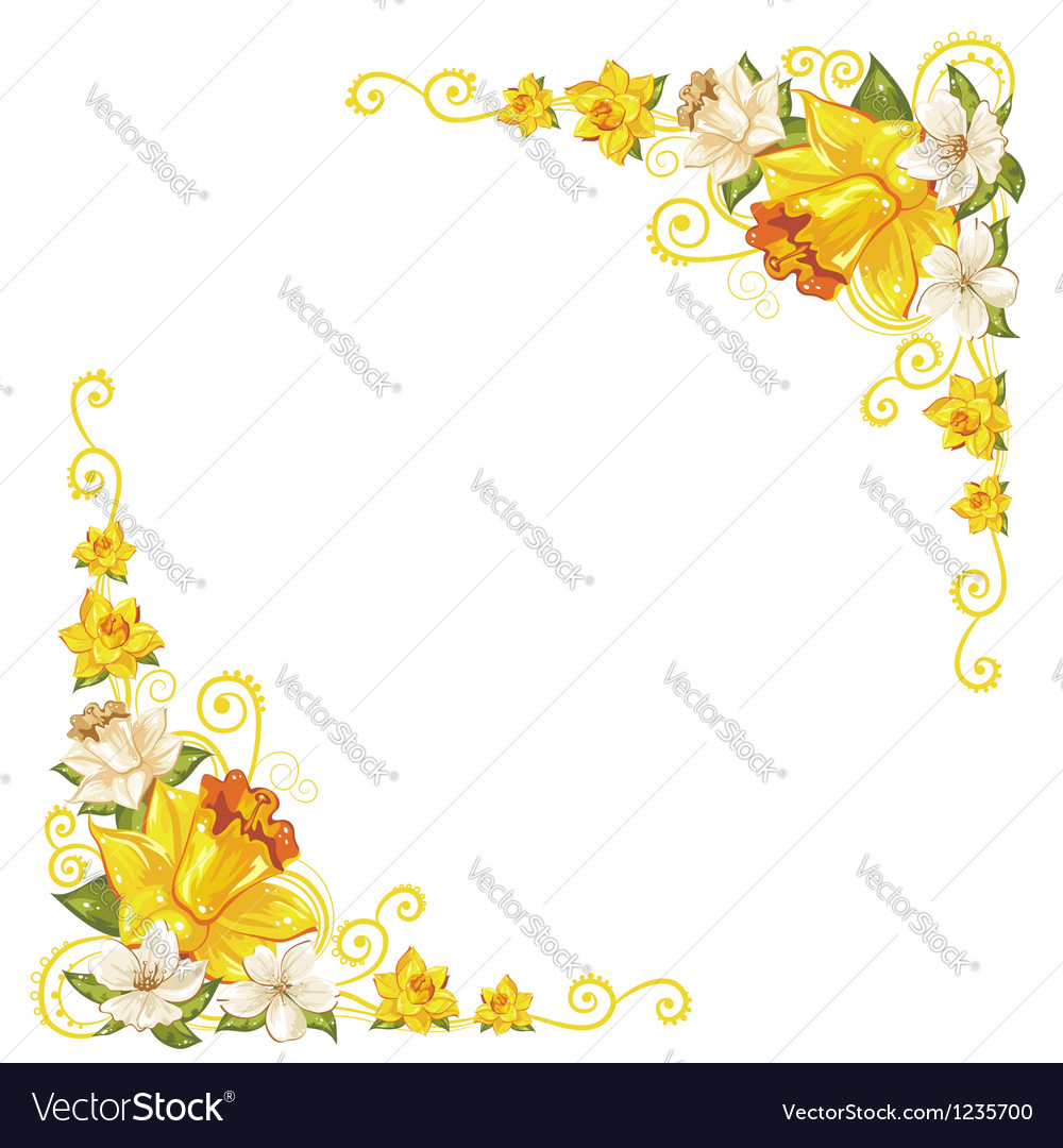 Elegant curves flower corners isolated