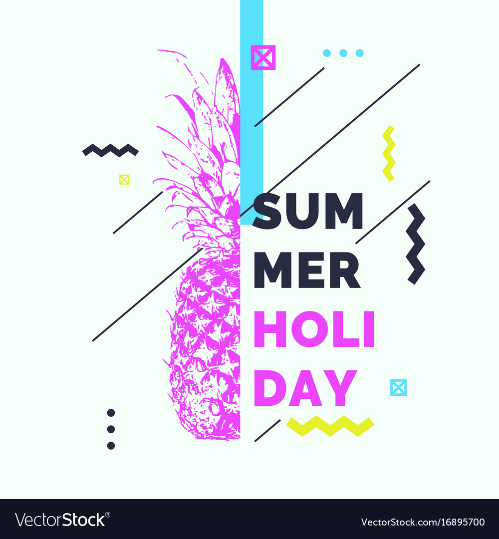Fashionable modern poster with pineapple summer
