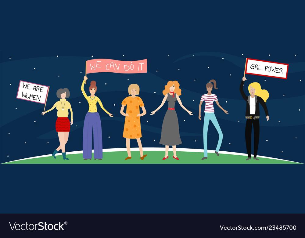 Feminist girl power poster girls can do anything