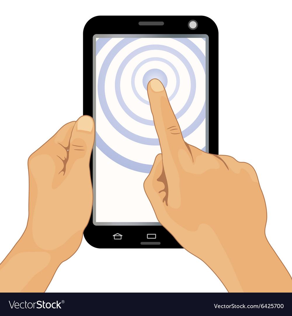 Hands with gadget