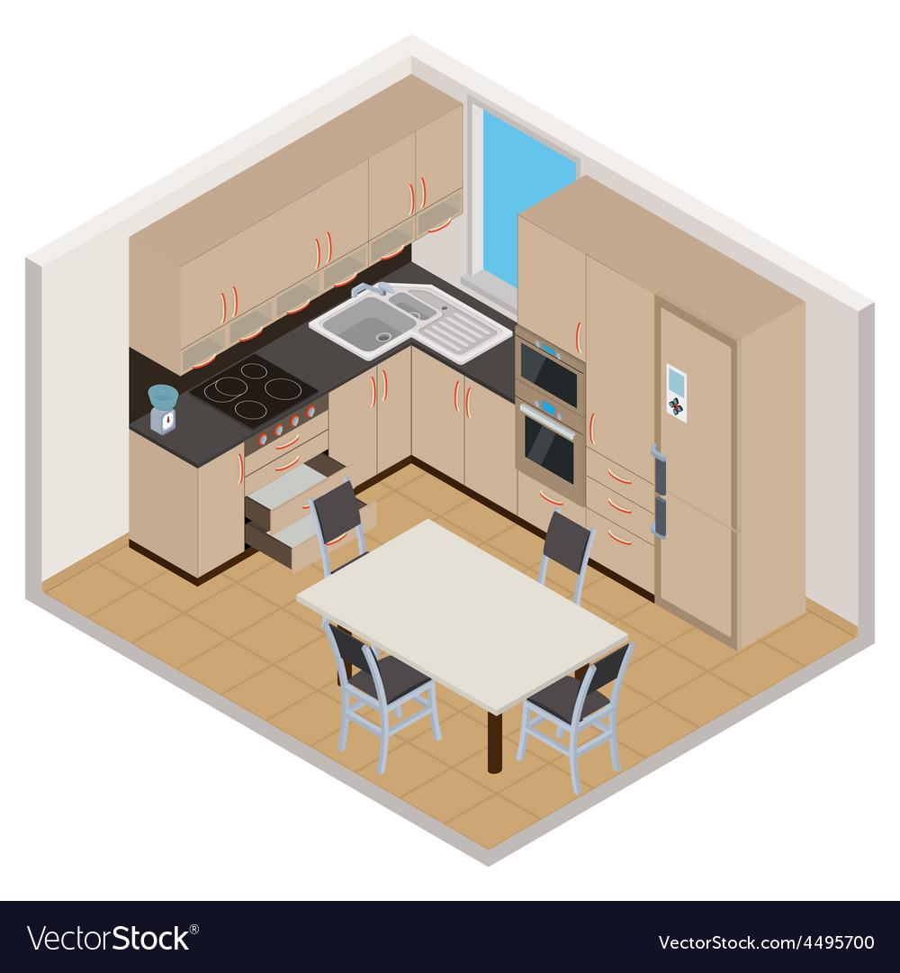 Isometric Kitchen Interior Royalty Free Vector Image