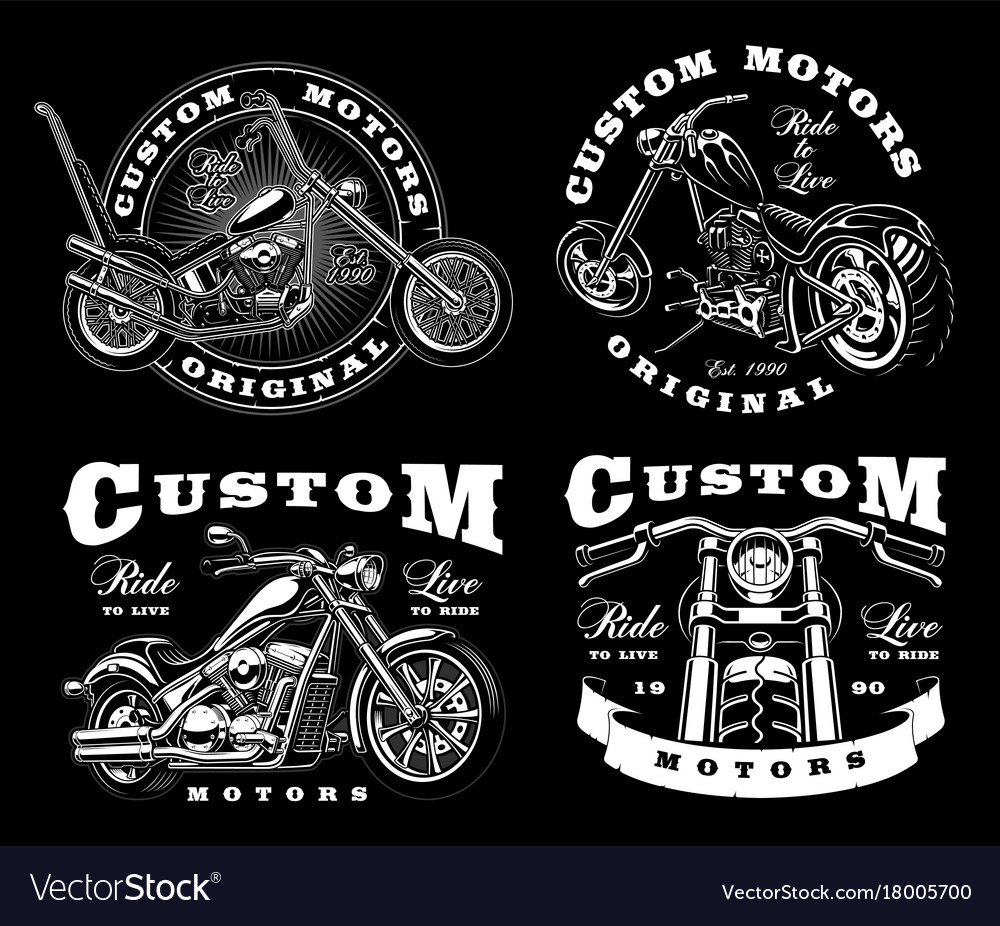 Set of 4 vintage biker on dark background 3
