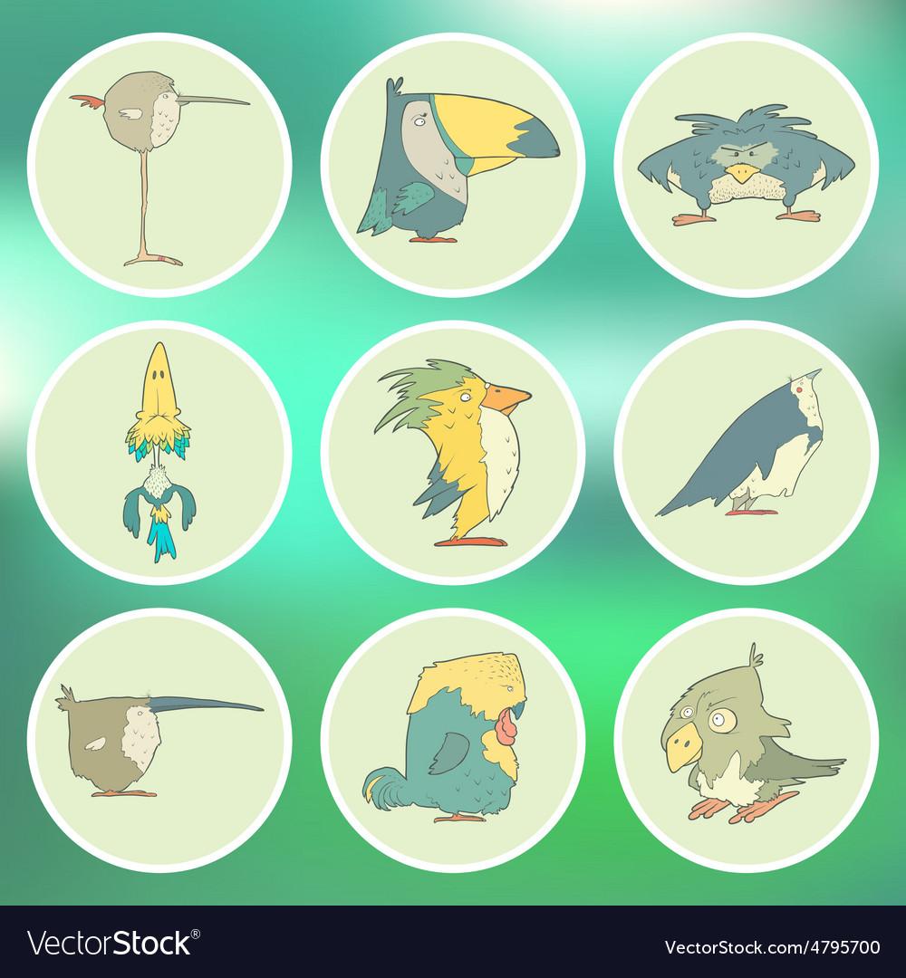 Set of hand drawn retro cartoon birds on