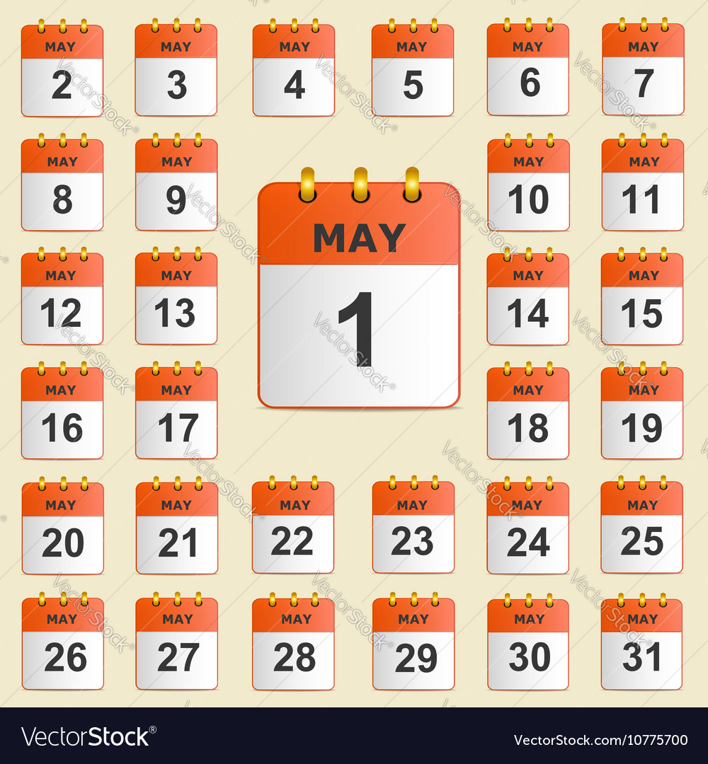 Set of icons for the calendar in May